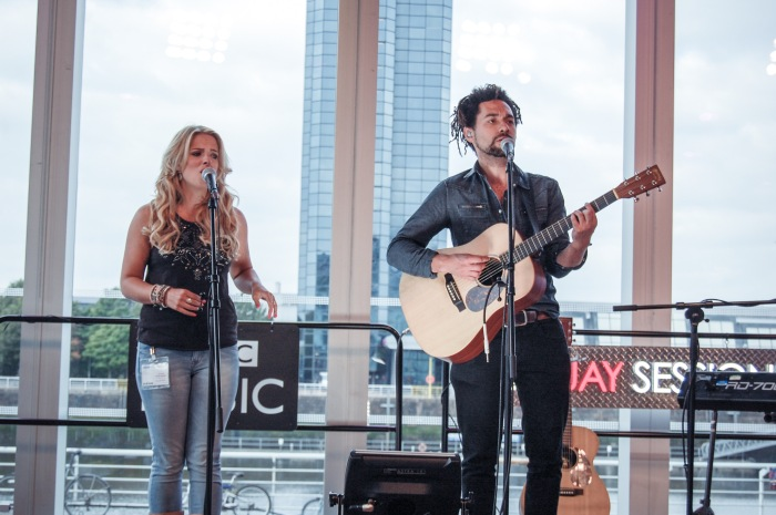 The Shires soundcheck for the BBC Quay Sessions.